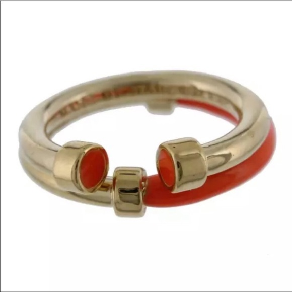 Gold tone and orange Marc Jacobs rings (2)